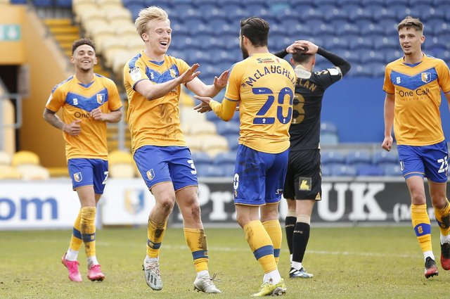 George Lapslie celebrates after he scores Stags' second goal against Oldham earlier this month.