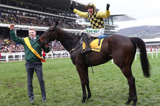 Jockey Paul Townend celebrates aboard Al Boum Photo, winner of last season's Magners Cheltenham Gold Cup.