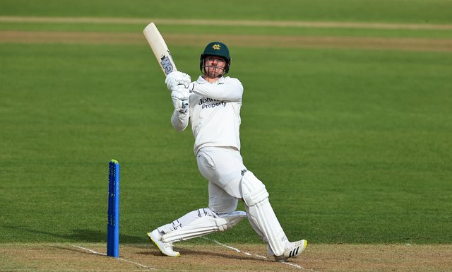 Liam Patterson-White of Nottinghamshire pulls the ball to the boundary for six runs during the LV=Insurance County Championship match between Nottinghamshire and Warwickshire at Trent Bridge on April 15, 2021 in Nottingham, England. (Photo by David Rogers/Getty Images)