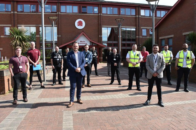 Ashfield District Council leader Jason Zadrozny with the team of workers tackling environmental crime in the area.