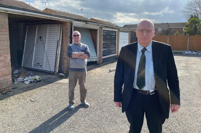 Coun John Wilmott with local resident Frank Wilkinson at the garages on Balmoral Grove
