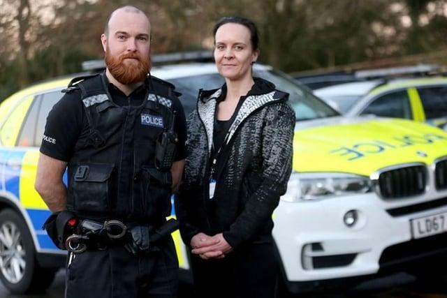 PC Rich Boam and community mental health nurse, Linda Pert. Photo: Nottinghamshire Police.