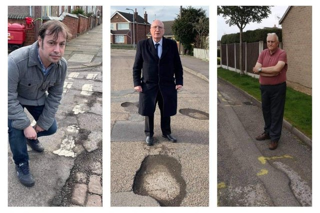 Couns Lee Waters (left), John Willmott and David Shaw (right) have different views on which is Hucknall's worst road